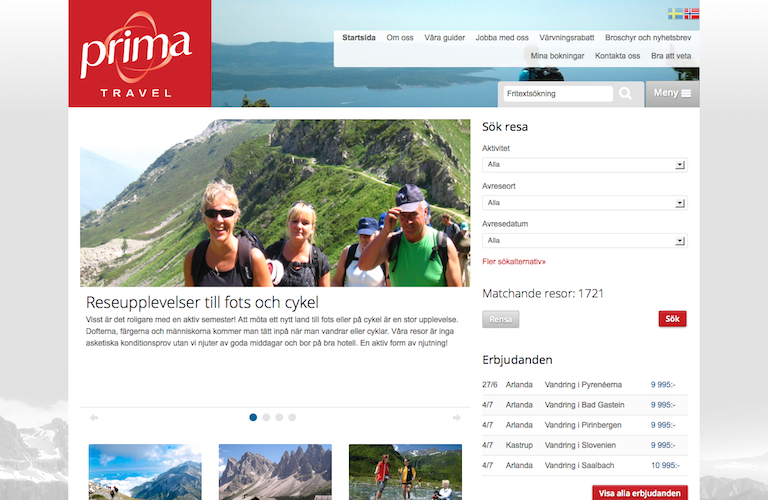 Prima travel web